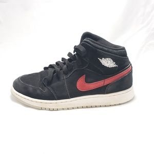 Youth Air Jordan 1 Mid Black/University Red 6.5Y